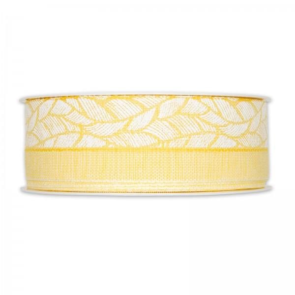 """Geschenkband """"Federn"""", Gelb/Weiß, 40mm x 20m"""