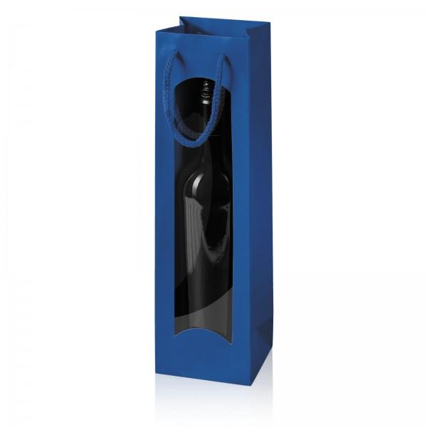 """Papiertragetasche """"Linea"""" Blau mit Fenster 1er"""
