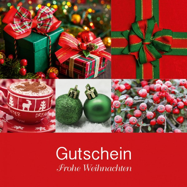 """Gutschein """"Frohe Weihnachten"""" Rot"""
