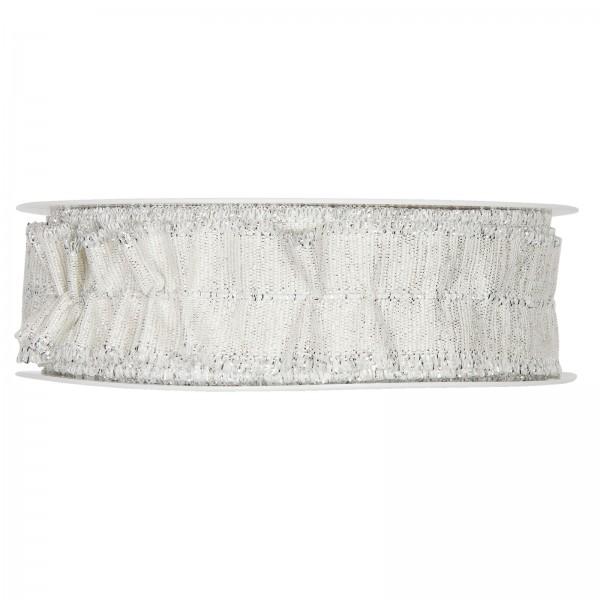 Lurexband raffbar, Weiß/Silber 30mm x 18m