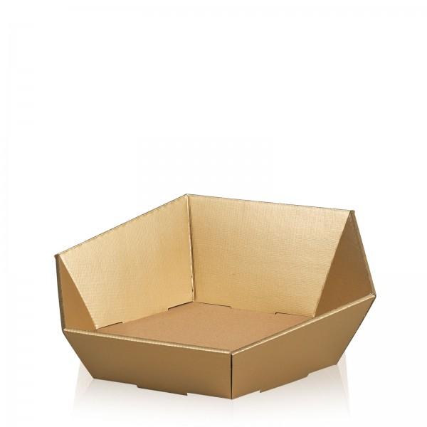 """Präsentkorb 6-eckig """"Seta Gold"""" -mittel-"""