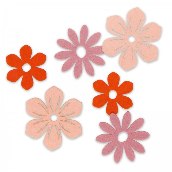 "Filzsortiment ""Blüten"" Apricot/Rosa/Orange sortiert, 6 Stück im Set"