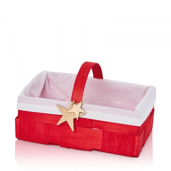 """Holzspankorb """"Landpartie Weihnachten"""" Rot mit weißem Stoff"""