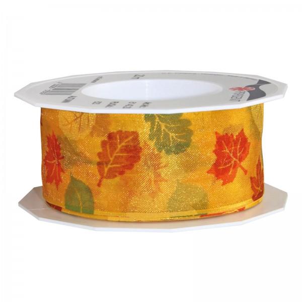 """Geschenkband """"Herbst"""" Rot/Orange, 40mm x 20m mit Drahtkante"""