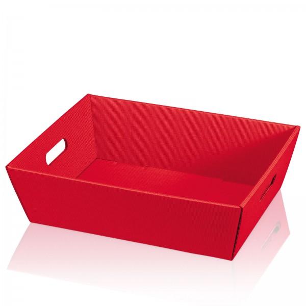 """Präsentkorb 4-eckig """"Modern Rot"""" -groß- mit Griffen"""