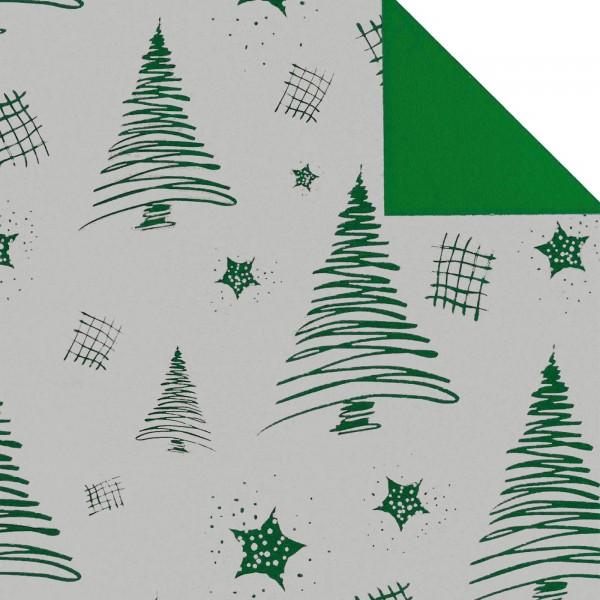 """Geschenkpapier """"Tannenbaum"""" Silber/Grün, zweiseitig"""