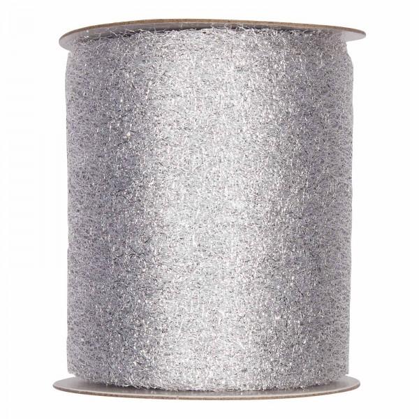 """Geschenkband """"Deko-Netz"""" Silber, 100mm x 20m"""