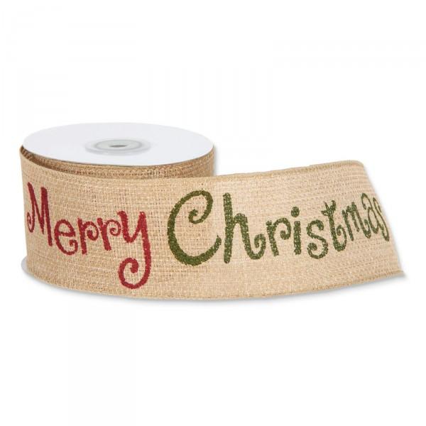 """Geschenkband Jute """"Merry Christmas"""" Natur/Rot/Grün 60mm x10m"""