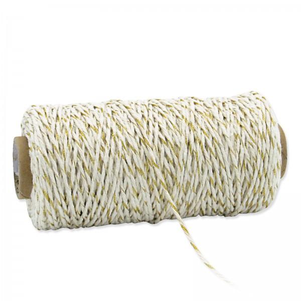 """Kordel """"Twist"""" Weiß/Gold, ø 2mm, 100m"""