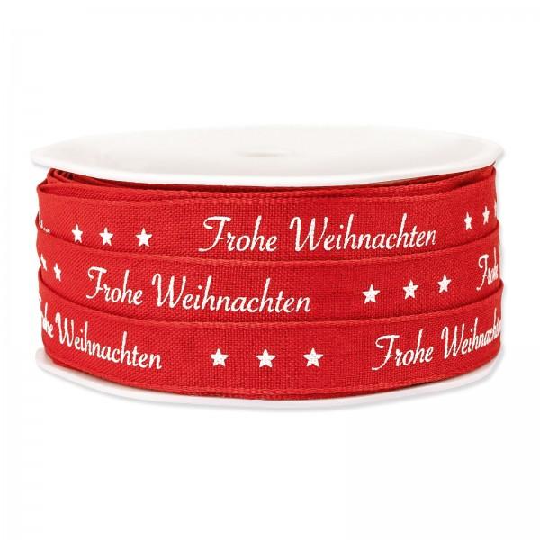 """Geschenkband """"Frohe Weihnachten"""" Rot, 12mm x 20m"""