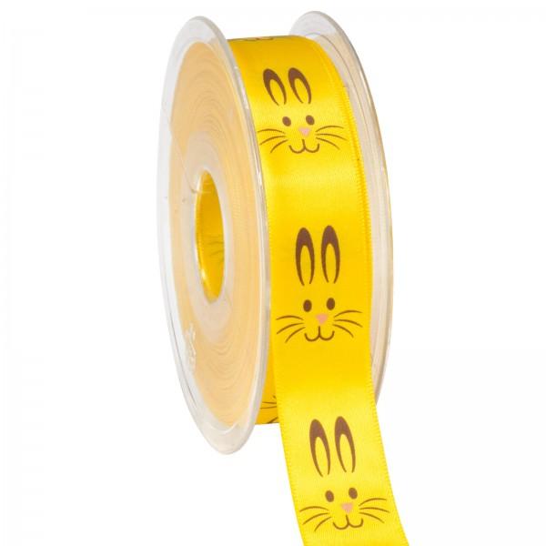 """Geschenkband """"Satin Osterhase"""" Gelb, 22mm x 25m"""