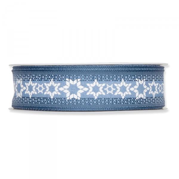 """Geschenkband """"Winter"""" Blau/Weiß, 25mm x 15m"""