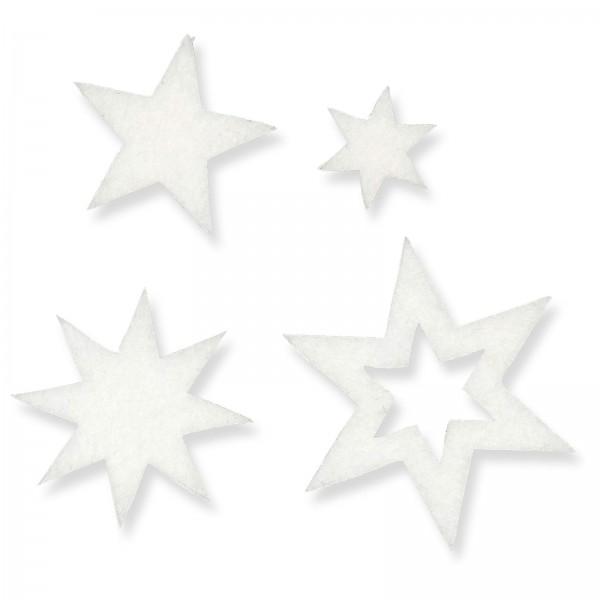 """Filz-Sticker """"Sterne"""" Creme, Beutel mit 24 Stück"""