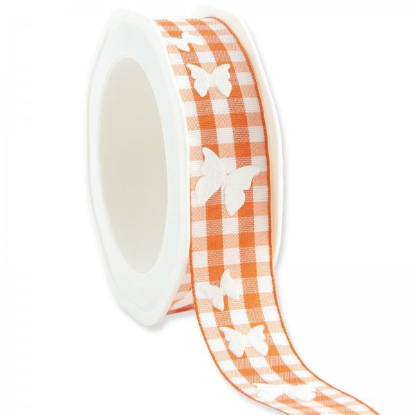 """Geschenkband """"Karo Schmetterling"""" Orange 25mm x 20m"""