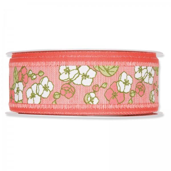 """Geschenkband """"Blumenranken"""" Koralle, 40mm x 18m"""