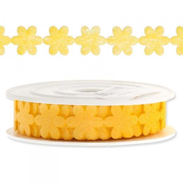 """Geschenkband """"Blütengirlande"""", 18mm x 9,14m, Gelb"""