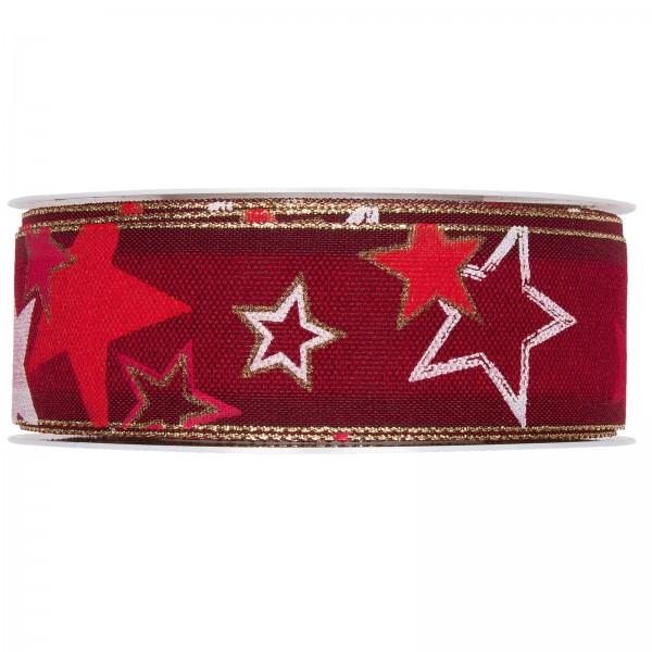 """Geschenkband """"Sterne"""" mit Lurexkante, Rot/Gold 35mm x 18m"""