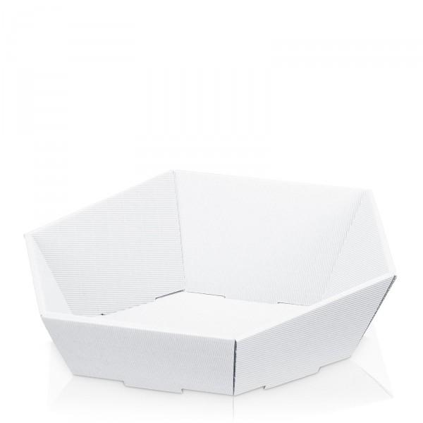 """Präsentkorb 6-eckig """"Modern Weiß"""" - groß-"""