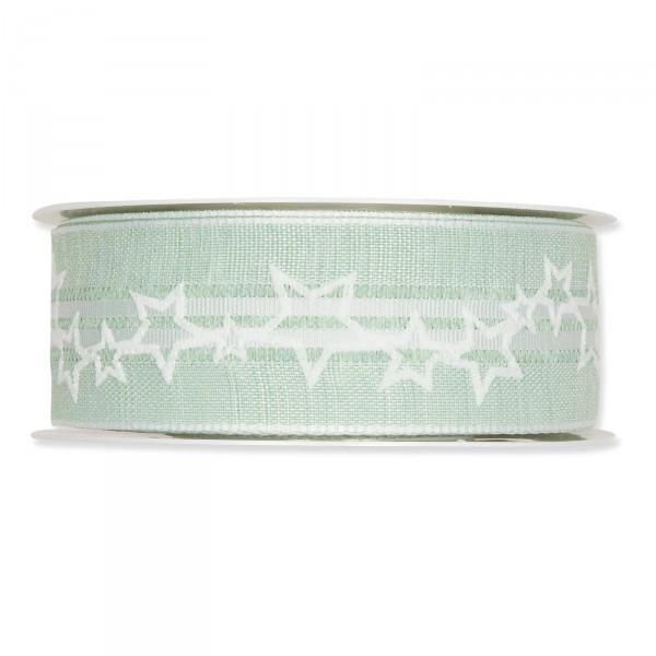 """Geschenkband """"Stars"""" Mintgrün/Weiß 35mm x 15m"""