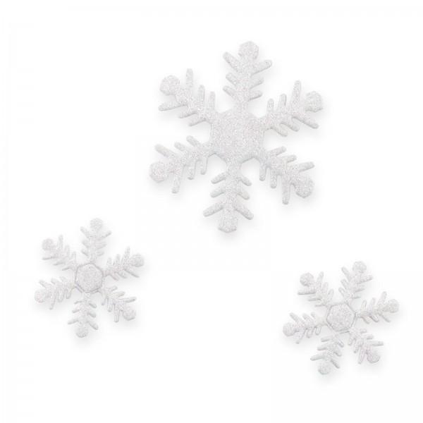 Schneeflocke mit Klebepunkt, Weißglimmer, sortiert, Ø 4+6cm