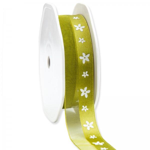 """Geschenkband """"Blüten"""" Grün 25mm x 15m"""