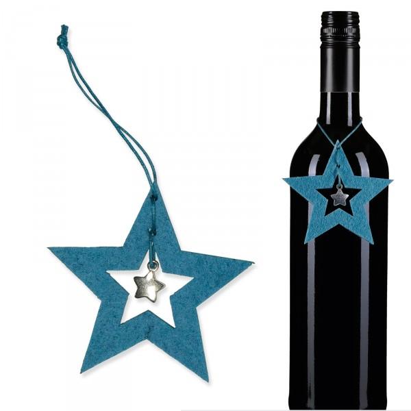 """Filz-Hänger """"Sterne Blau mit Silbersternchen"""""""