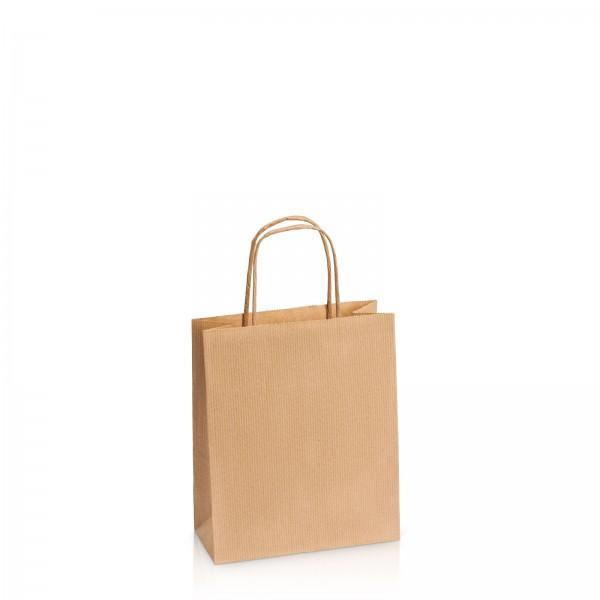 Einkaufstasche aus Kraftpapier Natur gerippt -S-