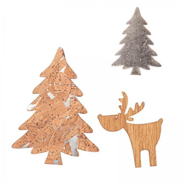 Bäume und Rentier mit Klebepunkt, Kork/Anthrazit