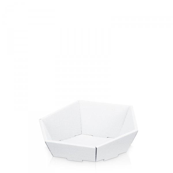 Präsentkorb 6-eckig Modern Weiß -klein-