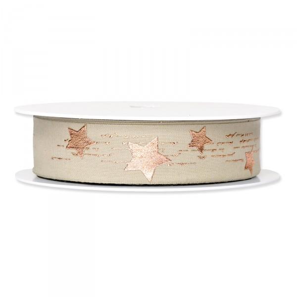 """Geschenkband """"Metallic Star"""" Sand/Roségold, 25mm x 20m"""
