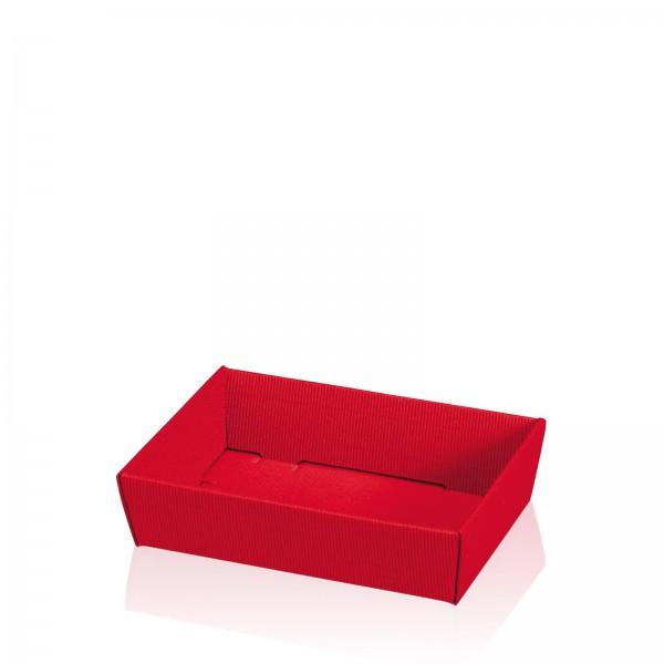 """Präsentkorb flach viereckig Modern Rot"" -mini-"