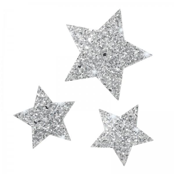 Glitzerstern mit Klebepunkt, Silber