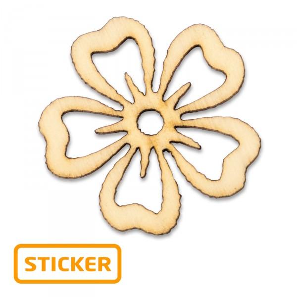 "Holzsticker ""Blüte"",ø 3cm, 6 Stück/Karte"
