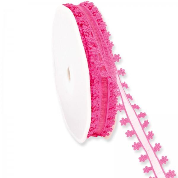 """Geschenkband Organza """"Blütenrand"""" Pink 18mm x 20m"""