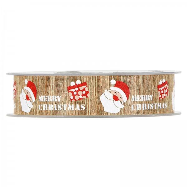 """Geschenkband """"Merry Christmas"""" Natur 22mm x 20m"""