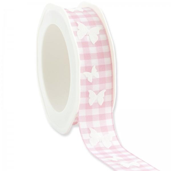 """Geschenkband """"Karo Schmetterling"""" Rosa 25mm x 20m"""