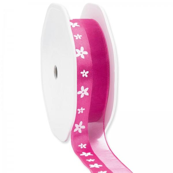 """Geschenkband """"Blüten"""" Pink 25mm x 15m"""