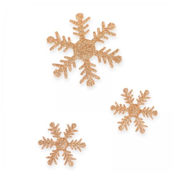 Schneeflocke mit Klebepunkt, Goldglimmer, sortiert, Ø 4+6cm