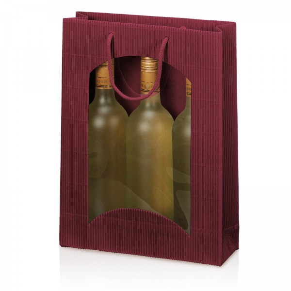 Tragetasche Bordeaux offene Welle mit Fenster 3er