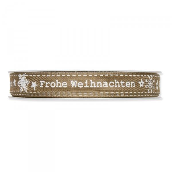 """Geschenkband """"Frohe Weihnachten"""" Natur/Weiß, 15mm x 18m"""