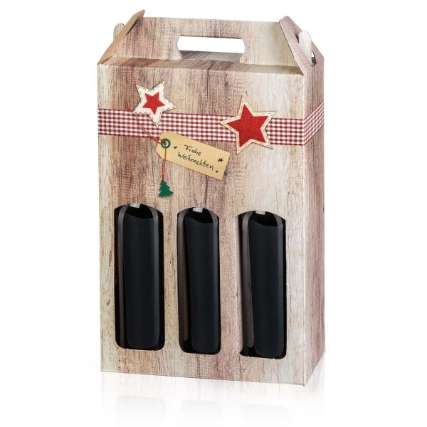 """""""Wood Frohe Weihnachten"""", 3er Tragekarton 0.75l Wein"""