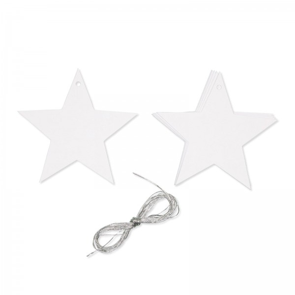 """Papier-Anhänger """"Stern"""" Weiß mit Silberschnur, 10cm"""