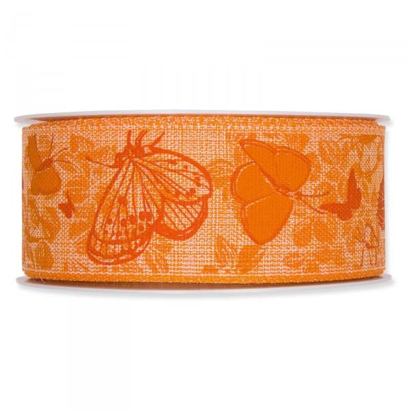 """Geschenkband """"Schmetterlinge"""" 40mm x 20m, Orange"""