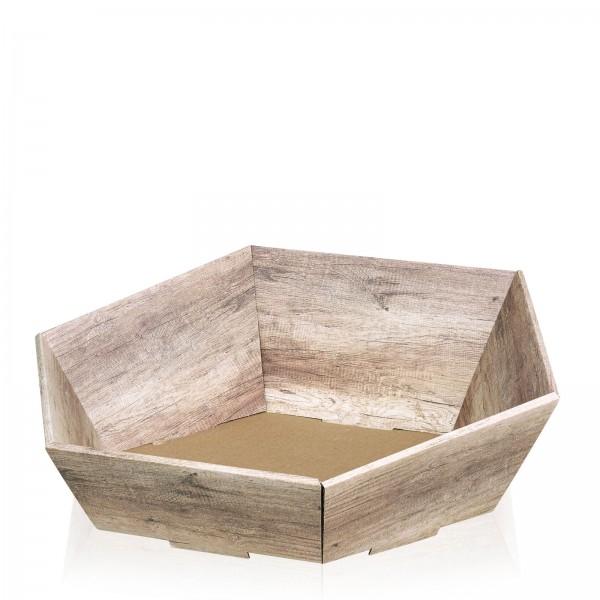 """Präsentkorb 6-eckig """"Wood"""" -groß-"""