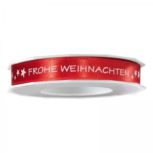 """Geschenkband """"Frohe Weihnachten"""" Rot, 15mm x 20m"""