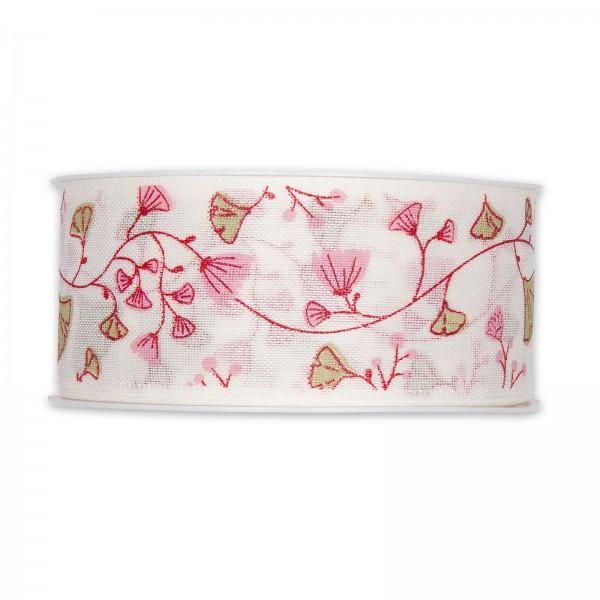 """Geschenkband """"Blumenranke"""", Pink/Weiß, 40mm x 18m"""