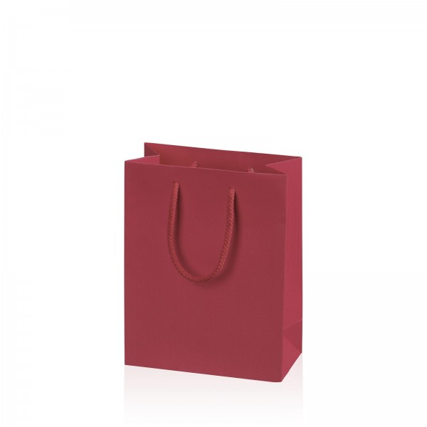 "Papiertragetasche ""Linea"" Bordeaux mit Streifenprägung BB"