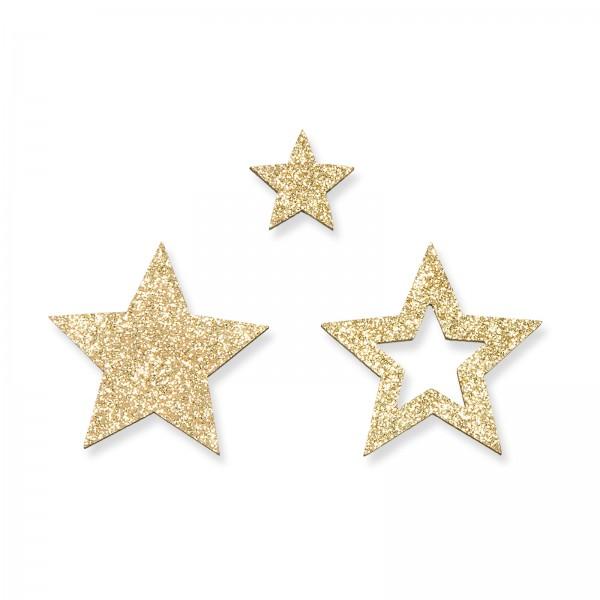 Holz-Streusterne mit Glitter Gold, Beutel mit 12 Stück