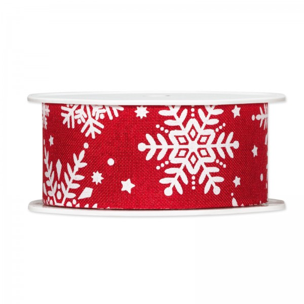 """Geschenkband """"Eiskristall"""" Rot/Weiß, 38mm x 15m"""