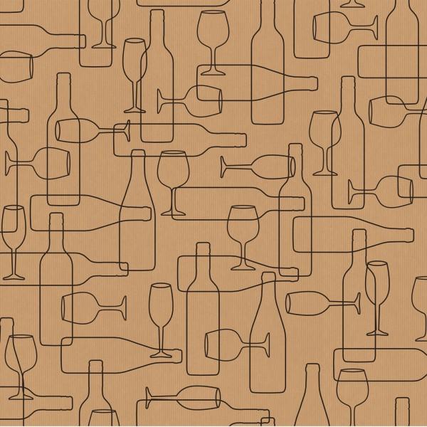 """Geschenkpapier """"Wine Natur-Schwarz"""" Kraftpapier gerippt, 50cm x 200m"""